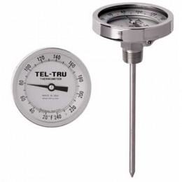 Tel-Tru 3310 Back Connect Thermometer, 3 inch dial, .250