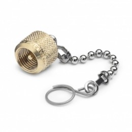 Cap, plug, chain and hanger ring, brass (for any brass Quick-test adapter)