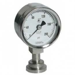 Noshok 100-12-1-25-58-2-3 2.5 Sanitary Gauge, 0 to 200 psi, 1.5 Clamp, Silicone Filled, Polycarbonate Lens