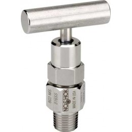 Noshok 802-MS-P1 1/4 NPT, Male, 316 SS, PTFE Packing, Hard Seat Bleed Valve