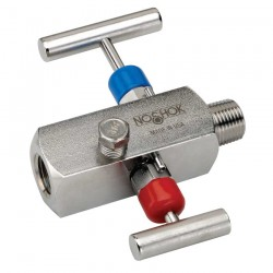 Noshok 2070-MFC-P2 1/2 NPT, Male x Female, Steel, Grafoil Packing, 2-Valve Block & Bleed, Hard Seat