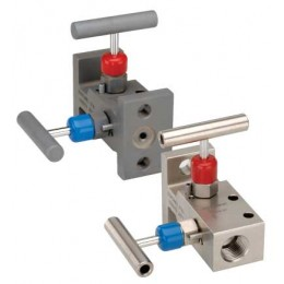 NOSHOK 210002-MMS-P1-T1 2 Valve Manifold, Soft Seat, Flange x Flange w/ 1/4 NPT Vent, 316 SS, PTFE Packing, Non-Rotating Tip