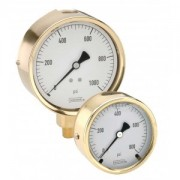 "Bottom Connection 2.5"" Brass Liquid Filled Case Gauge- 300 SERIES"