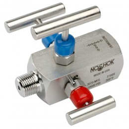 Noshok 3070-MFC 1/2 NPT, Male x Female, Steel, 3-Valve Double Block & Bleed, Hard Seat