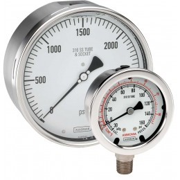 "Noshok 25-500-1000 psi - bar 1/4"" NPT Bottom Conn 2.5 Liquid filled all Stainless steel gauge"