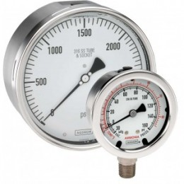 Noshok 25-500-30-vac/bar 1/4 NPT Bottom Conn, 2.5 Glycerin Filled Stainless Steel Gauge
