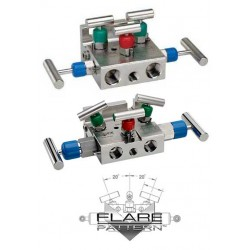 NOSHOK 5130-MFC Flange x 1/2 NPT Female, Soft tip Steel 5-Valve Natural Gas Manifold Valves
