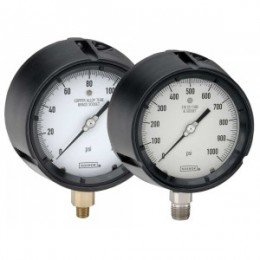 Noshok 45-640-10000-psi-SG-BT8 1/4 NPT Bottom Conn, 4.5 Process Gauge, Safety Glass Lens, 0.8 mm Brass Threaded Orifice