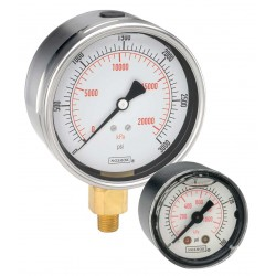 "Noshok 25-901- -30 inHg to 0 to 15 psi - kPa 1/4"" NPT Bottom Conn 2.5"" SS Liquid Filled Pressure Gauges"