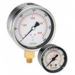 Noshok 40-911-15-psi/bar-SSFF-MIP 1/4 NPT Back Conn, Stainless Steel Case Gauge, Glycerin Filled , SS Front Flange, Maximum Indicating Pointer