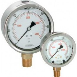 "Noshok 25-901- -30 inHg Vacuum to 0 psi/KPA 1/4"" NPT Bottom Conn 2.5"" SS Liquid Filled Pressure Gauges"