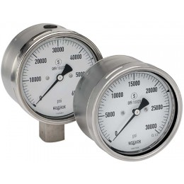 Noshok 40-402-30000-PSI-/KPA-9/16-HPM 9/16-18 UNF 2A left hand male thread Dry, bottom connection Extreme High Pressure Gauge