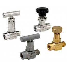 Noshok 101-FFAC-EM1-PM2 1/8 NPT, Female x Female, Angle, Steel, EPDM O-Ring, Panel Mount, Hard Seat Mini Valve