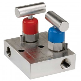"Noshok 2602-2702 Series 2-Valve Mini Block & Bleed Manifold Valves Hard Seat & Soft Tip (0.141"" Orifice)"