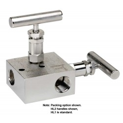"Noshok 2603/2703 & 2604/2704 Series 2-Valve Block & Bleed Manifold Valves Hard Seat & Soft Tip (0.156"" Orifice)"