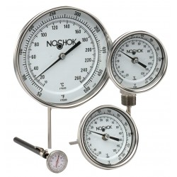 "Noshok 300 series Adjustable Angle 5 Inch DIAMETER 1/2"" NPT Instrument Type Bimetal Thermometers"