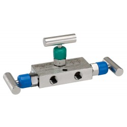 "Noshok 3610/3710 Series 3-Valve Differential Pressure Mini Manifold Valves Hard Seat & Soft Tip (0.141"" Orifice)"