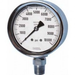 "Noshok 60-500-2000-PSI-SSRF-REAR FLANGE Bottom Conn.1/2 NPT 6"" Liquid filled SS Pressure Gauge"