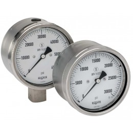 """Noshok 402/502 Series Stainless Steel Pressure Gauges Dry & Liquid Filled, 9/16""""-18 UNF 2B cone Extreme High Pressure"""